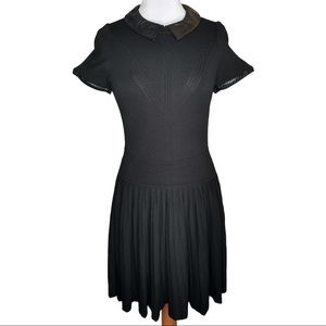 Milly Black Lamb Leather Combo Fit & Flare Dress